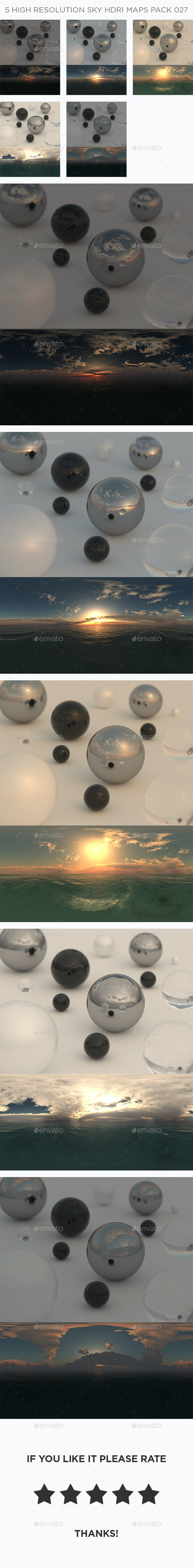 5 High Resolution Sky HDRi Maps Pack 027 - 3DOcean Item for Sale