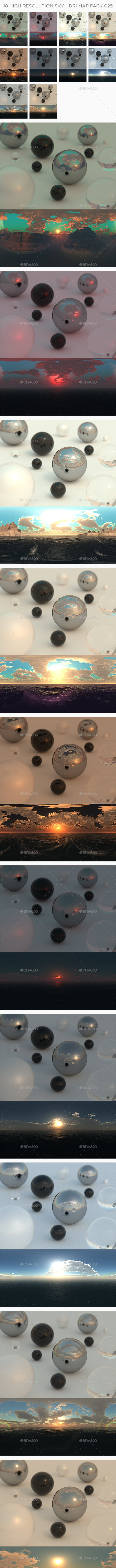 10 High Resolution Sky HDRi Maps Pack 025 - 3DOcean Item for Sale
