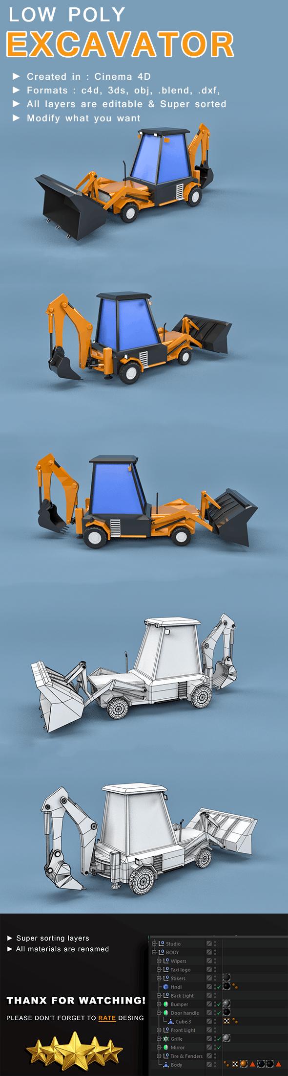 Low Poly Excavator Loader - 3DOcean Item for Sale