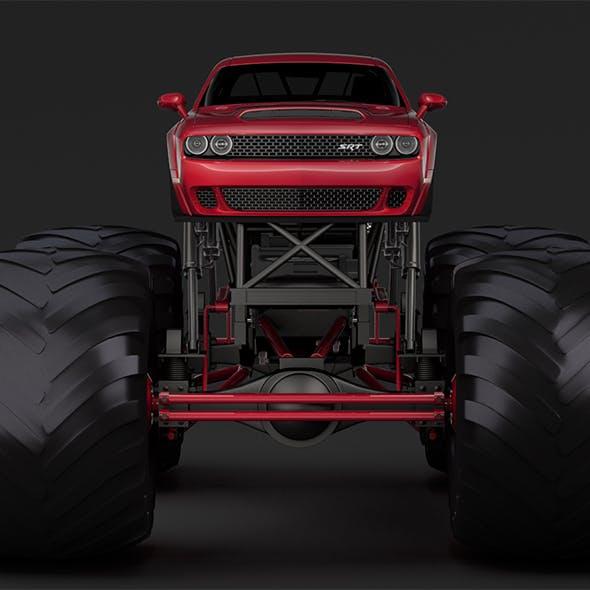 Monster Truck Dodge Challenger Demon - 3DOcean Item for Sale