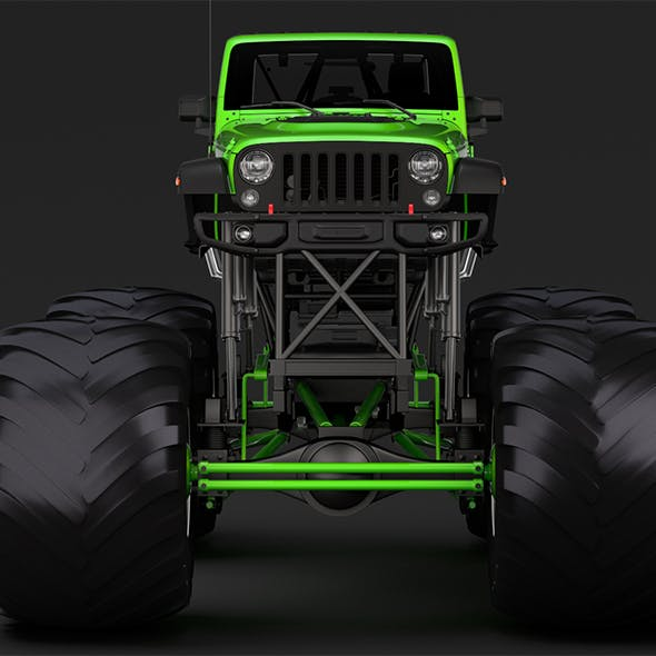 Monster Truck Jeep Wrangler Rubicon Recon - 3DOcean Item for Sale