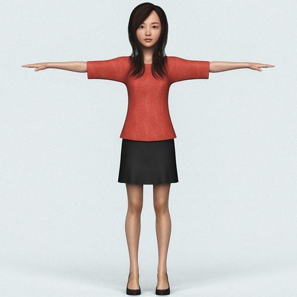 Realistic Beautiful Japanese Cute Girl - 3DOcean Item for Sale