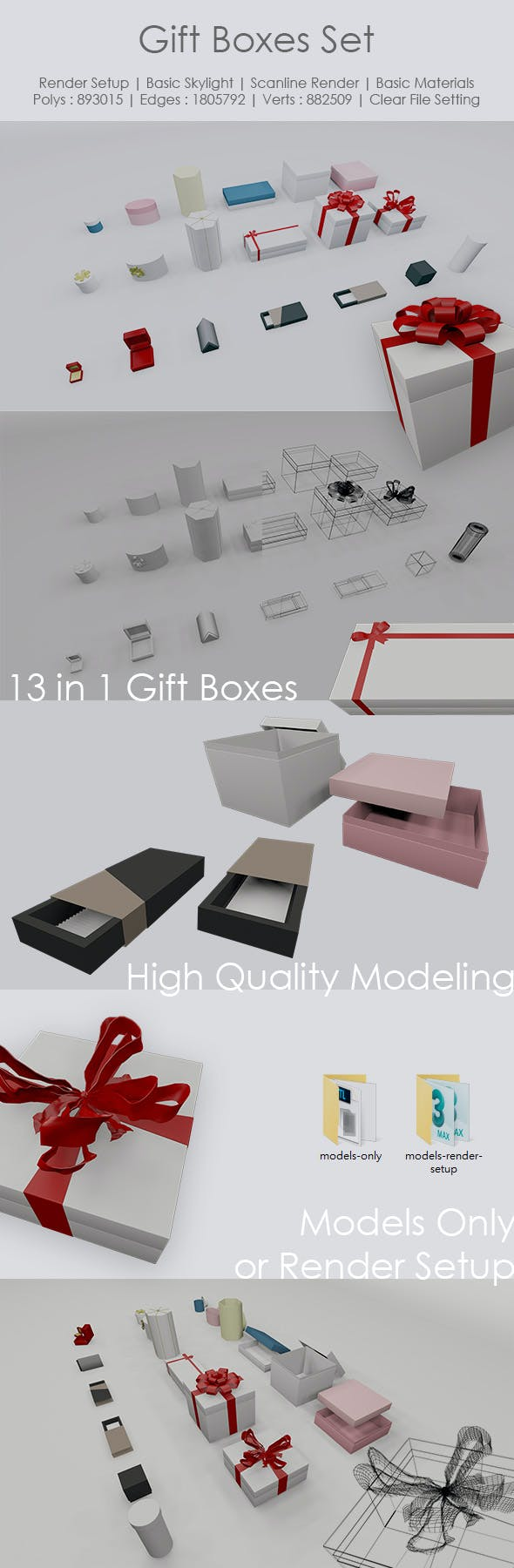 Gift Boxes Set - 3DOcean Item for Sale
