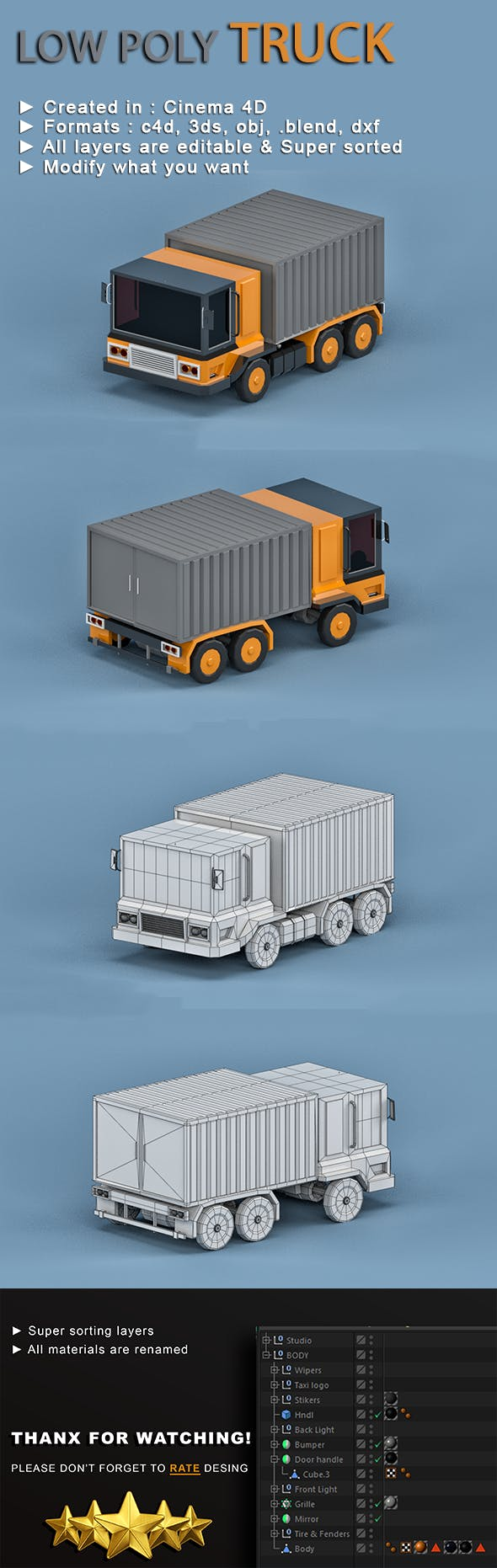 Low-poly Truck - 3DOcean Item for Sale