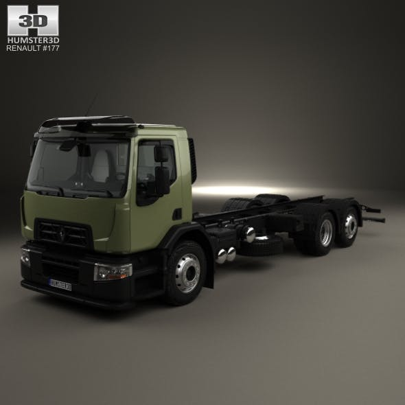 Renault D Wide Chassis Truck 3-axis with HQ interior 2013 - 3DOcean Item for Sale