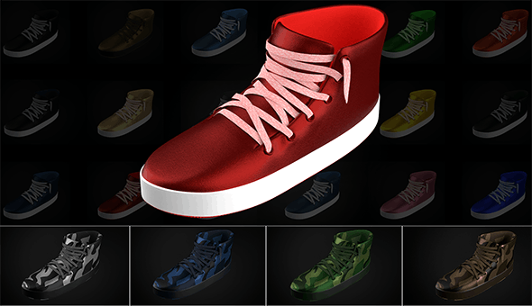 Stylized Shoes Sneakers collection Low-poly 3D model - 3DOcean Item for Sale
