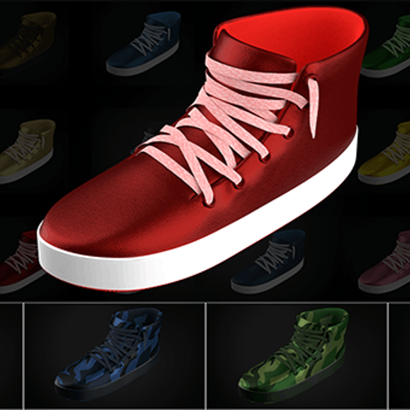 Stylized Shoes Sneakers collection Low-poly 3D model