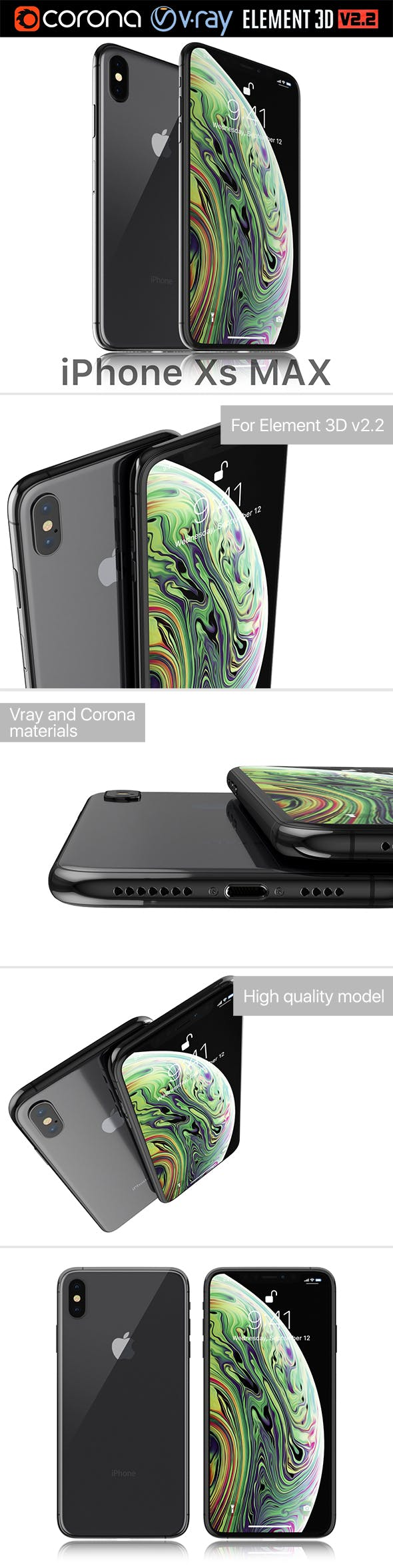 Apple iPhone XS MAX Space Gray - 3DOcean Item for Sale