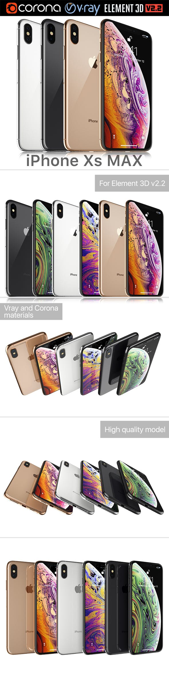 Apple iPhone XS MAX all colors - 3DOcean Item for Sale
