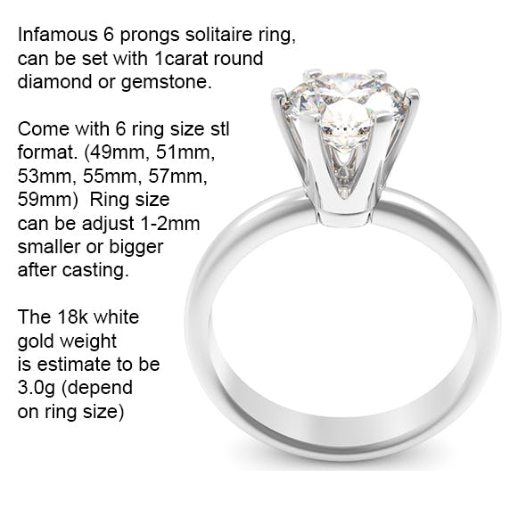6 prongs solitaire ring - 3DOcean Item for Sale