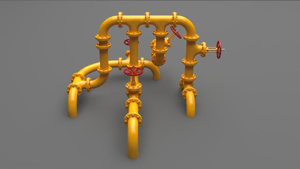 PBR Industrial Pipes Middle - 3DOcean Item for Sale