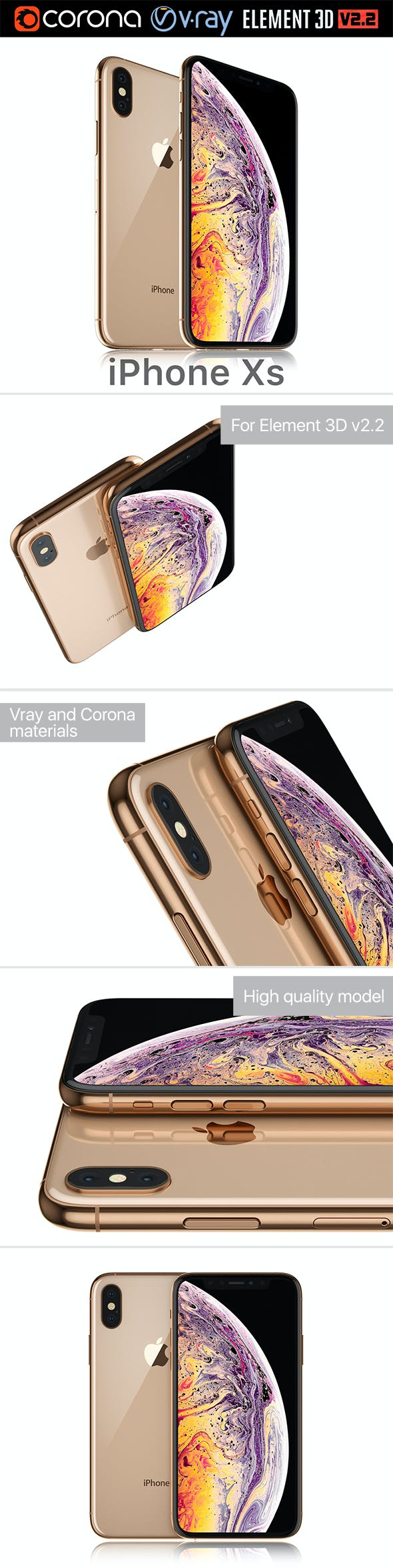 Apple iPhone XS Gold - 3DOcean Item for Sale