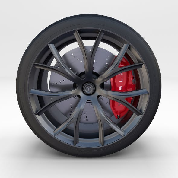 Full Tesla Roadster Wheel - 3DOcean Item for Sale