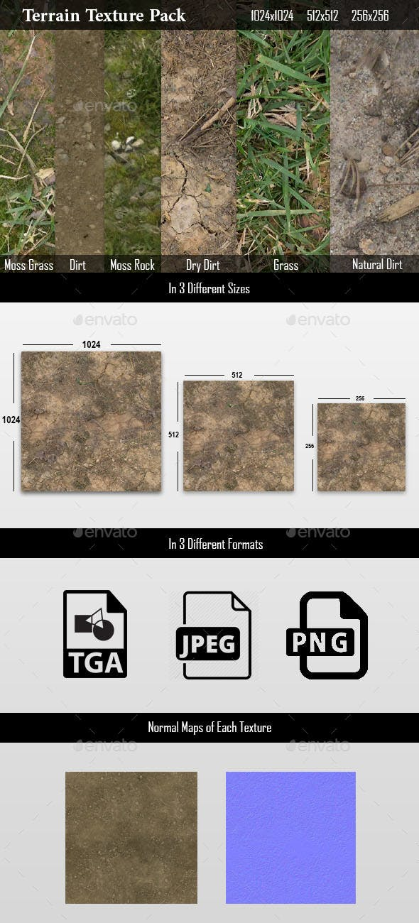 Terrain Texture pack for Video games - 3DOcean Item for Sale