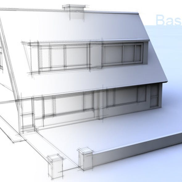 3D basic house cinema 4d