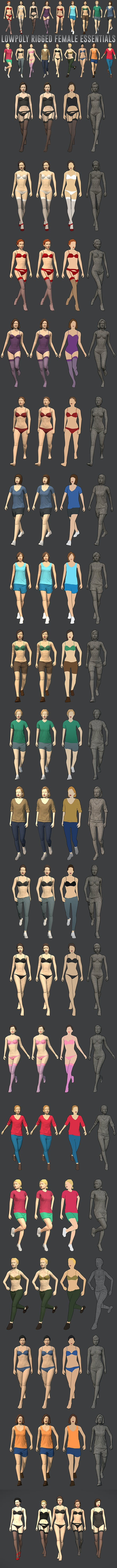 Lowpoly Rigged Female Essentials - 3DOcean Item for Sale