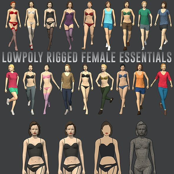 Lowpoly Rigged Female Essentials