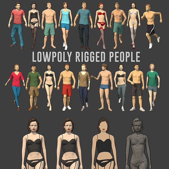 Lowpoly Rigged People