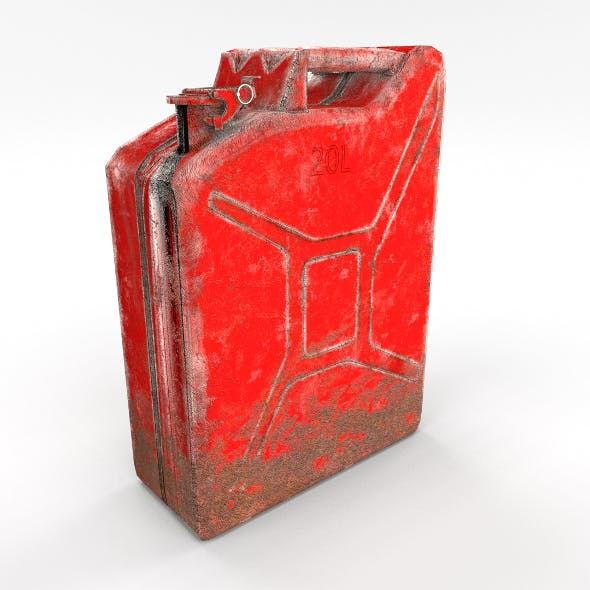 Jerry Can Low Poly Weathered 2 PBR - 3DOcean Item for Sale