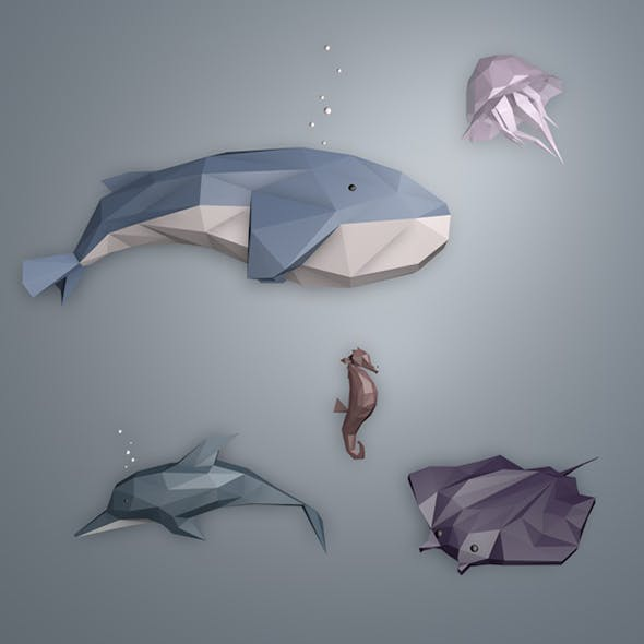 Lowpoly Sea Creatures Pack - 3DOcean Item for Sale