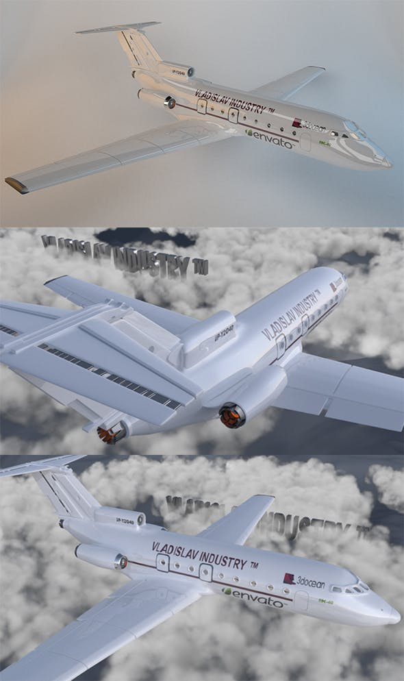 Aircraft | Flight | Yak-40 | Fighter | Clouds | 3D | Watch | Silver | Airport | Element 3D | Game - 3DOcean Item for Sale