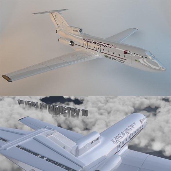 Aircraft | Flight | Yak-40 | Fighter | Clouds | 3D | Watch | Silver | Airport | Element 3D | Game