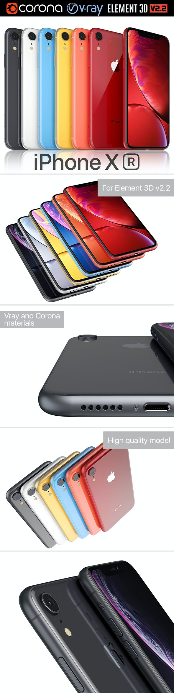 Apple iPhone Xr All colors - 3DOcean Item for Sale