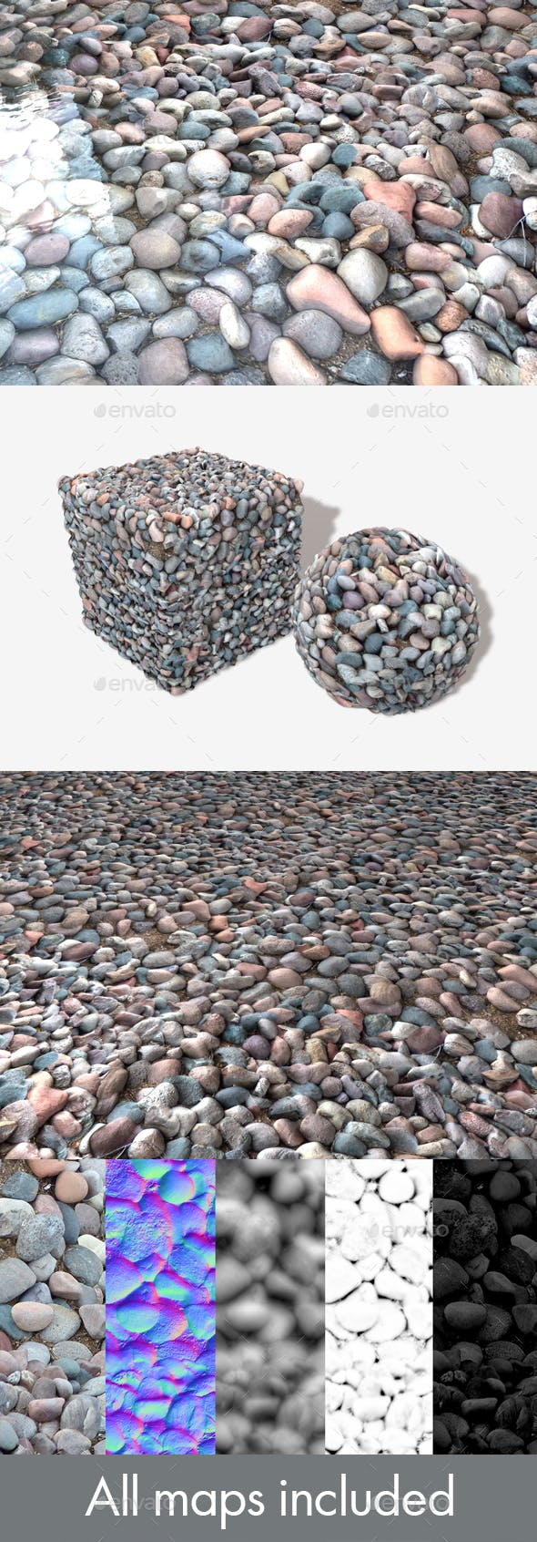 Purple Stones Seamless Texture - 3DOcean Item for Sale