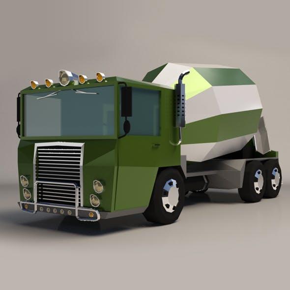 Low-Poly Cartoon Concrete Mixer Truck - 3DOcean Item for Sale