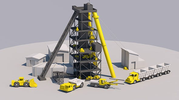 Mining site - Low Poly - 3DOcean Item for Sale