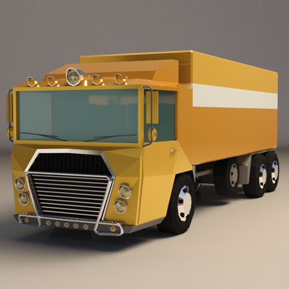 Low-Poly Cartoon Cargo Truck
