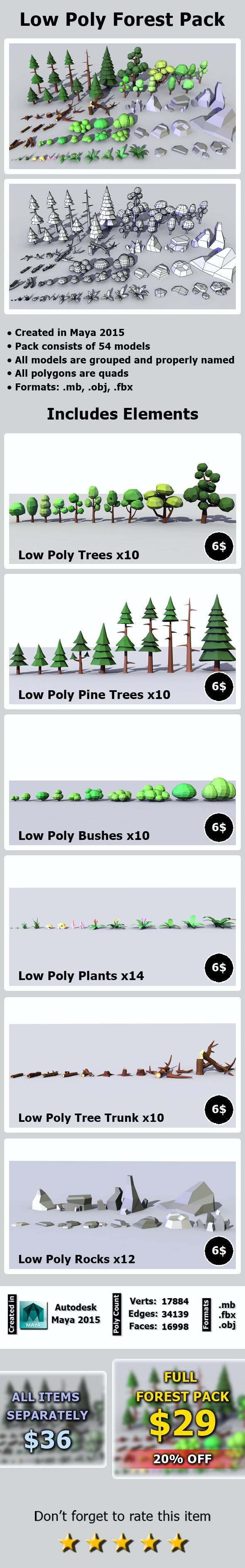 Low Poly Forest Pack - 3DOcean Item for Sale