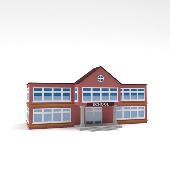 Low Poly School Building - 3DOcean Item for Sale