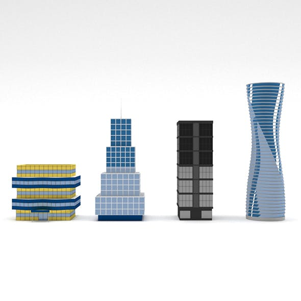 Low Poly Skyscrapers - 3DOcean Item for Sale