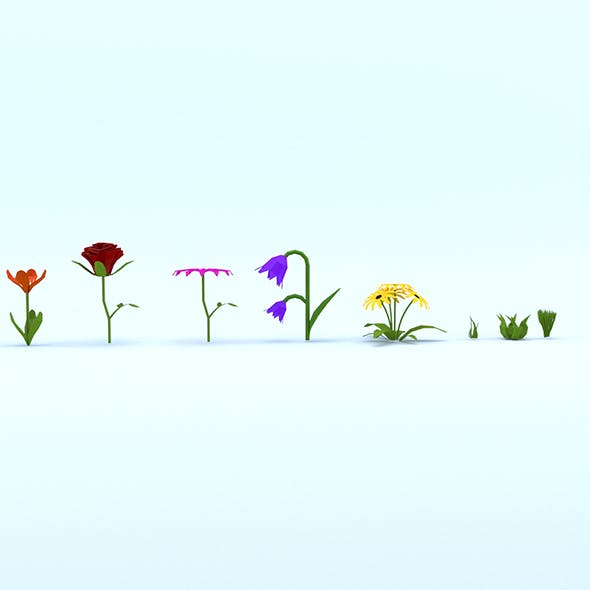 Low Poly Cartoon Flowers Pack - 3DOcean Item for Sale