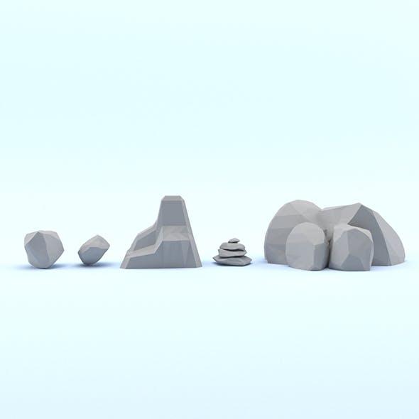 Low Poly Cartoon Rocks Pack - 3DOcean Item for Sale