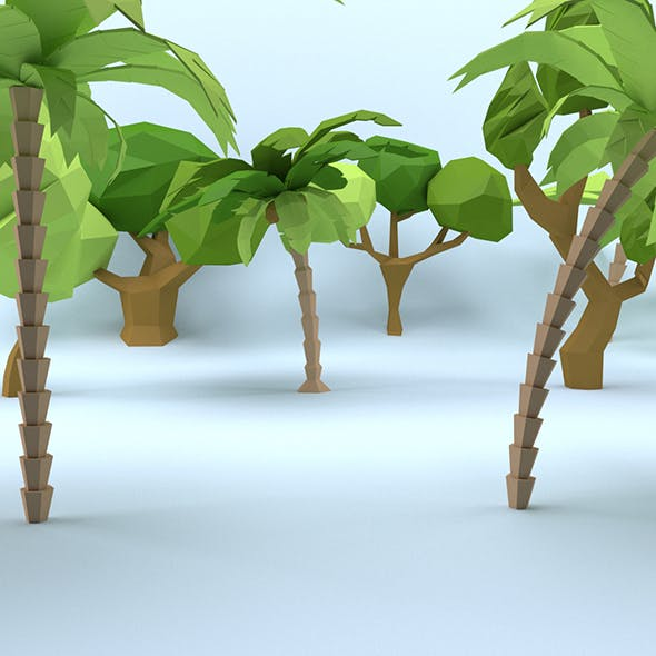 Low Poly Cartoon Trees Pack
