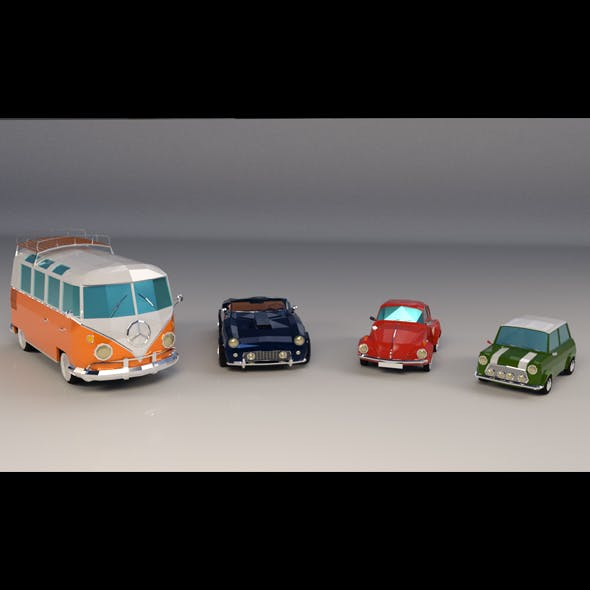 Low Poly Cartoon Classic Car Pack 01