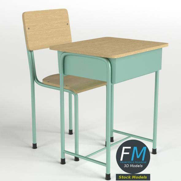 School Desk and Chair - 3DOcean Item for Sale