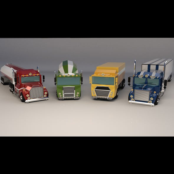 Low Poly Cartoon Truck Pack 01