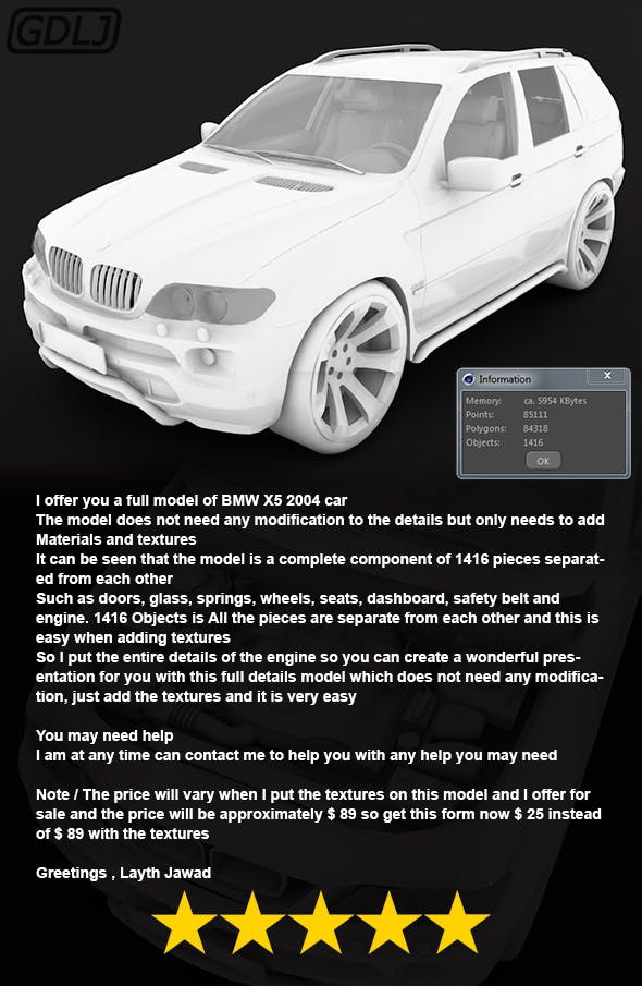 BMW X5 2004 - 3DOcean Item for Sale