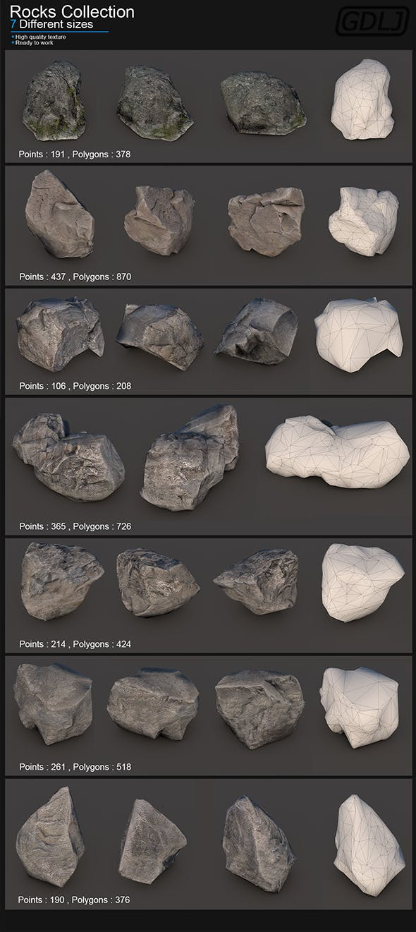7 Rocks of different sizes - 3DOcean Item for Sale