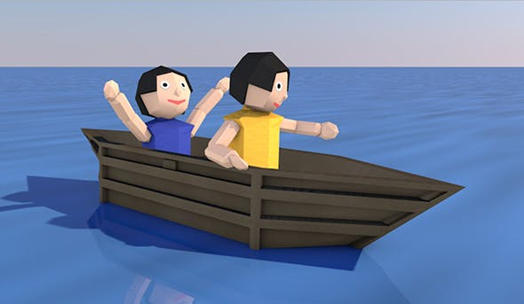 Cartoon Origami Animated Boat - 3DOcean Item for Sale