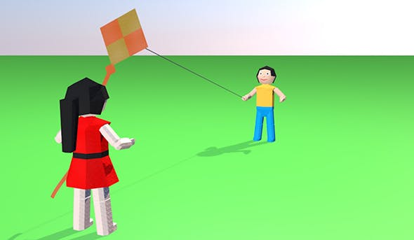 Origami Animated Kids with Kite - 3DOcean Item for Sale