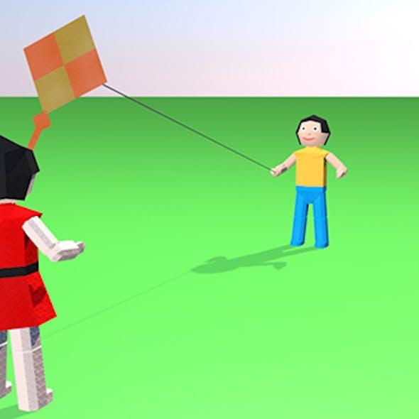 Origami Animated Kids with Kite