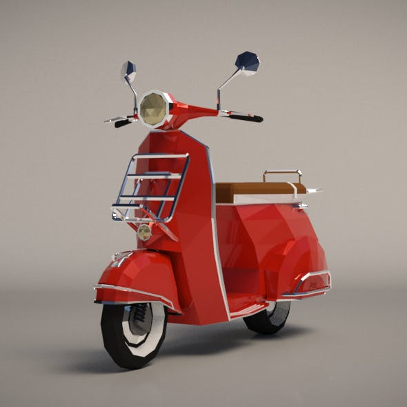 Low-Poly Cartoon Vespa Scooter