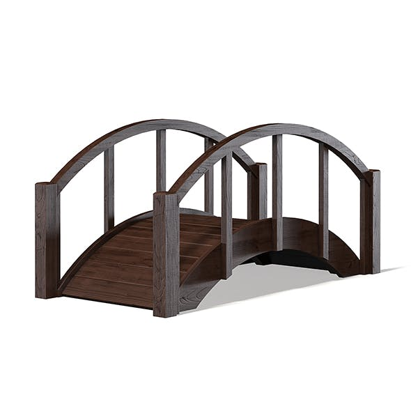 Small Dark Wooden Bridge 3D Model - 3DOcean Item for Sale