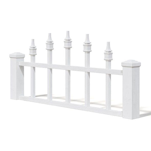 White Wooden Fence 3D Model