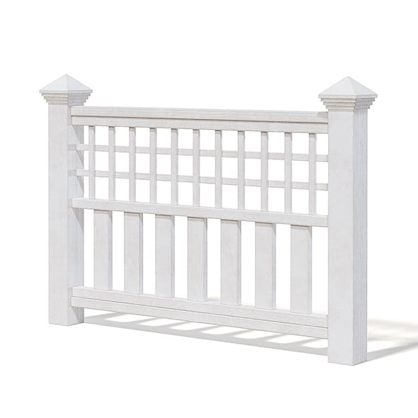 White Wooden Fence 3D Model - 3DOcean Item for Sale