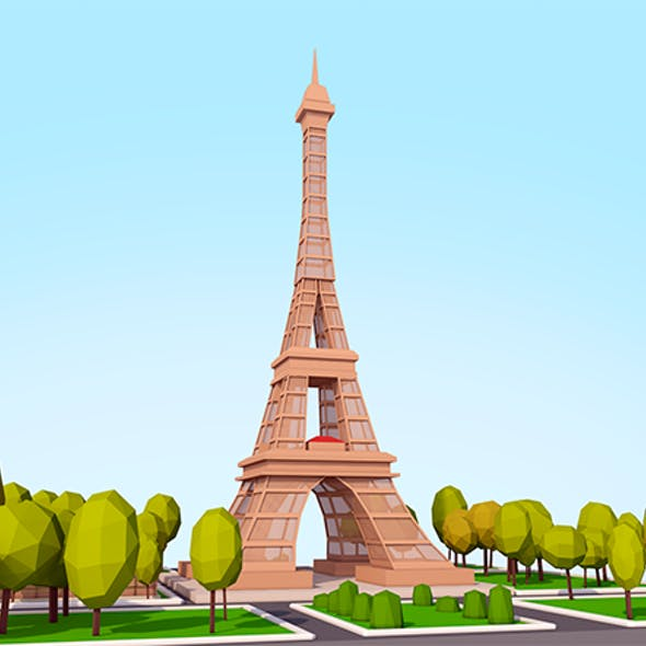 Cartoon Low Poly Eiffel Tower Landmark